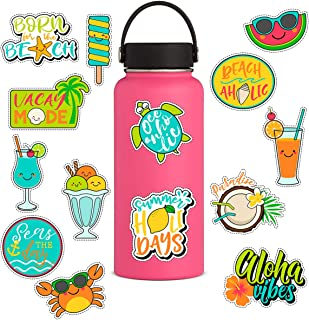 Cute Summer Beach Holiday Vinyl Stickers[14PCS] for HydroFlasks Water Bottles Laptop - Lovely Sea Crab Turtle Coconut Ice Cream Cooler Watermelon Sunshine Sticker for Teens, Girls, Women, Feminis