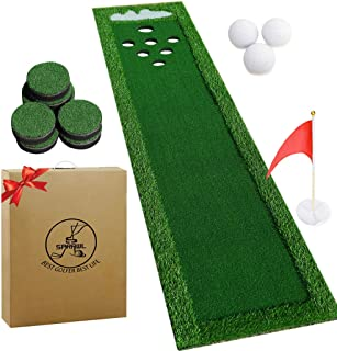 SPRAWL Portable Golf Green Putting Practice Mat | Golf Beer Pong Game Set with Golf Hole Covers & Carrying Case for Indoor & Outdoor Party - 2.1 ft x 9.5 ft