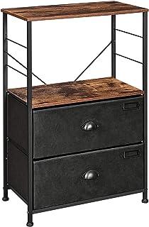 SONGMICS Table de Chevet, Table de Nuit avec étagères, Table d'appoint avec tiroirs en Tissu, Surface boisée, Cadre en mét...