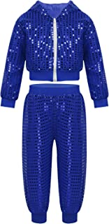 Kids Sequin Party Outfits Shiny Jackets&Pants Hip-hop Jazz Dancing Hooded Costumes Stage Performance