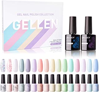 Gellen 16 Colors Gel Nail Polish Set With Top Base Coat - Spring Summer Fresh Macaron Girly Colors Collection, Popular Nai...