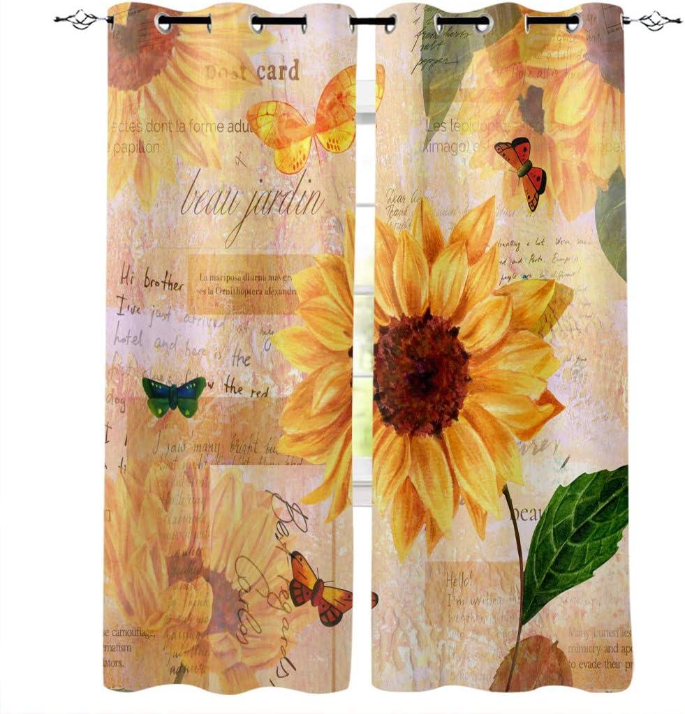 最安値に挑戦 Sunflowers and Butterfly Window Curtain Decor 超安い Retro Letter Home