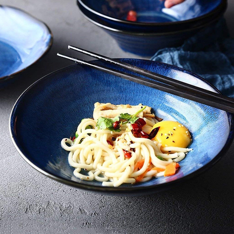 CWJ Kitchen Cuisine Cutlery Set Creative Bowl Restaurant Dish Western Plate,blueee Ceramic Large Pasta Bowl Fruit Salad Dessert Snack Dip Bowl Tableware Japanese Soup Porridge Ramen Noodle Serving Bowl
