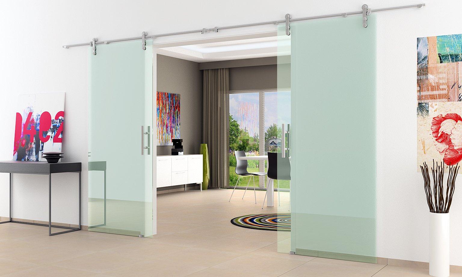 2 palas correderas de cristal de la puerta en forma de aspecto abierto y ruedas | Barras de asas | Incluido entrega | 2 piezas 1025 x 2050 mm de alta calidad
