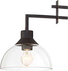 """Metro Polished Bronze Linear Pendant Chandelier 32"""" Wide Geometric Clear Glass 3-Light Fixture for Kitchen Island Dining Room - Franklin Iron Works"""