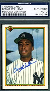 Bernie Williams Coa Autograph 1990 Bowman Rookie Hand Signed - PSA/DNA Certified - Baseball Slabbed Autographed Cards