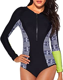 a4428bb16f6d4 Funnygirl Women's Rashguard Long Sleeve Zip UV Protection Print Surfing Swimsuit  Swimwear Bathing Suits