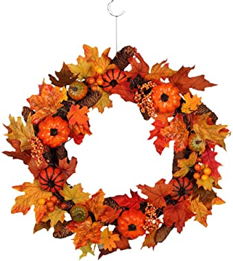 LYFWL Christmas Wreath Pumpkin Harvest Silk Fall Front Door Wreath Front Door Decor with Rich Fall Colors Christmas Decorations