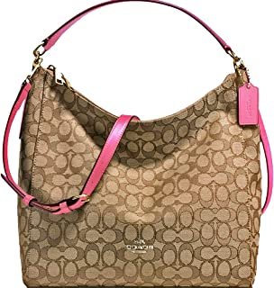 SALE ! New Authentic COACH Outline Monogram Elegant Shoulder Bag in Beautiful Khaki/Strawberry pink + longer strap for crossbody wear! 2 Looks in one!