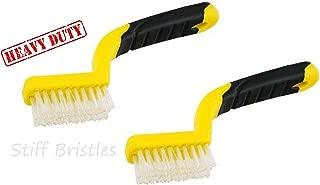 2 ALAZCO Soft-Grip Handle Heavy-Duty Tile Grout Brush - Extra-Stiff Bristles - Yellow