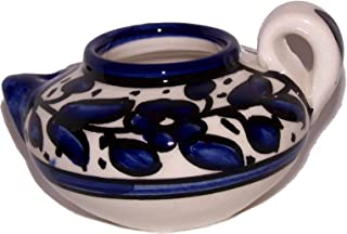 Oil Lamp - Ceramic Painted by Hand (4 Inches) with Wicks for Burning - - Asfour Outlet Trademark