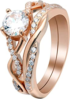 Queena Rose Gold Over Sterling Engagement and Wedding Band Ring Set