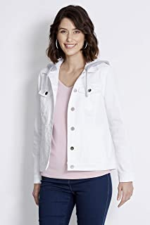 Rockmans Longsleeve Hooded Colour Denim Jacket White 14 - Womens