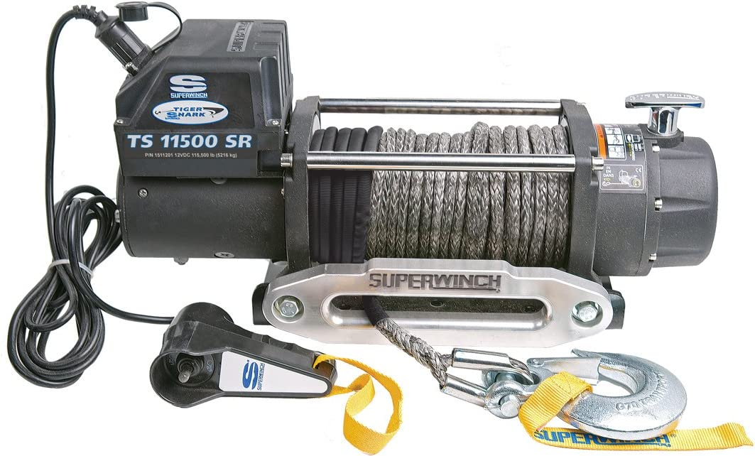 Superwinch 1511201 Tiger Shark 11.5 12 VDC Winch 216kg Capacity with Synthetic Rope and Aluminum Hawse 11500-Pound