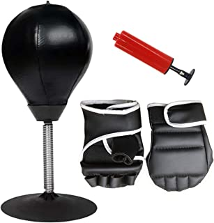 Desktop Punching Bag for Stress Relief - This Mini Inflatable Boxing Bag is a Cool Fun Desk /Tabletop Toy for Adults, Kids, Men & Women Ideal Gift for Home or Office use, Includes Finger Less Gloves