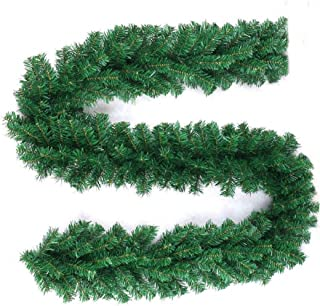 Greenvelly 9 Foot Garland Traditional Christmas Wreath for Christmas or Wedding Party Home Garden Greenery with No Decorations - Premium Quality Indoor Outdoor Xmas Door Stairs Fireplace