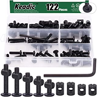 Keadic 122Pcs M6 x 15/20/25/30/35mm Baby Bed Screws Hardware Replacement Kit, Black Hex Socket Cap Bolts Barrel Nuts Assor...