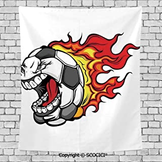 SCOCICI Popular Flexible Hot Tapestries Privacy Decoration,Sports Decor,Cartoon Image of a Flaming Soccer Ball with Aggressive Angry Mean Face
