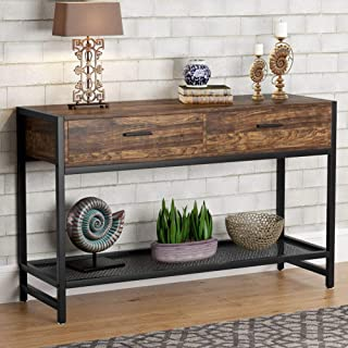 Tribesigns Industrial Console Table with 2 Drawers, Rustic Sofa Entry Table TV Stand Media Console Entertainment Center with Storage Shelves for Living Room, Entryway, Hallway