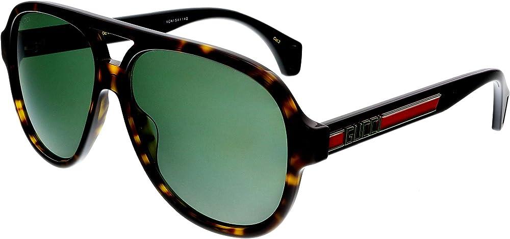 Gucci occhiali da sole per uomo sportivi vintage lenti verdi GG0463S