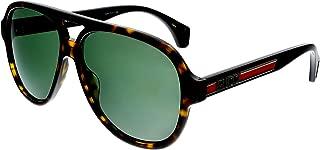 Gucci GG0463S Sporty Vintage Pilot Shape Sunglasses 58mm