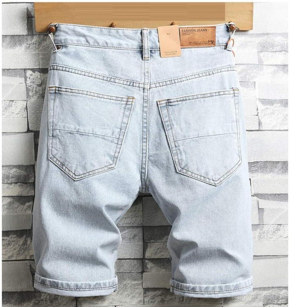 Hoonmis Nouveau été Hommes Trous Shorts en Jean Bleu Clair Jean Court Bonne qualité Hommes Genou Longueur Jeans Shorts Grande Taille Jean Droit Blue
