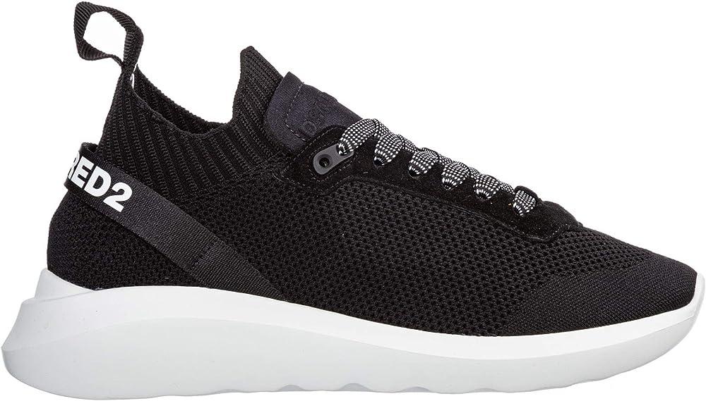 Dsquared2, sneakers speedster uomo,scarpe sportive ,tomaia in maglia,inserti in camoscio SNM007459202114M063