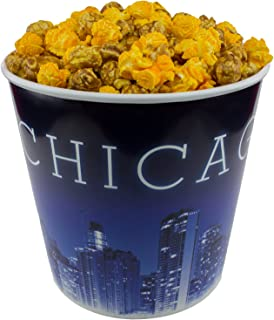 Signature Popcorn - Gourmet Cheddar Cheese Caramel Mix - 1-Gallon Blue Chicago Skyline Reusable Plastic Bucket Tin