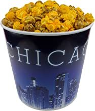Signature Popcorn - Gourmet Popcorn - 1-Gallon Blue Chicago Skyline Reusable Plastic Tin, 2-flavors - Perfect Duo (caramel and cheddar cheese mixed together)