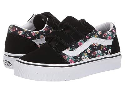 Vans Kids Old Skool V (Little Kid/Big Kid) ((Butterfly Floral) Black/Black) Girls Shoes