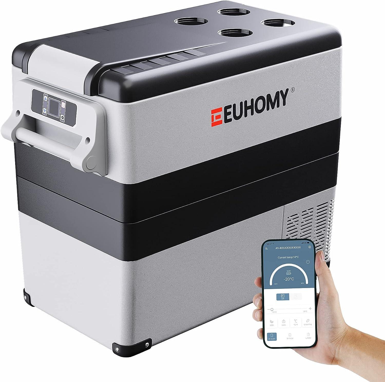 Euhomy Car Refrigerator, 55Liter(59qt) RV Refrigerator with 12/24V DC & 120-240V AC, Portable refrigerator freezer fridge cooler For Car, RV, Camping, Travel, Fishing, Outdoor or Home Use(Gray).