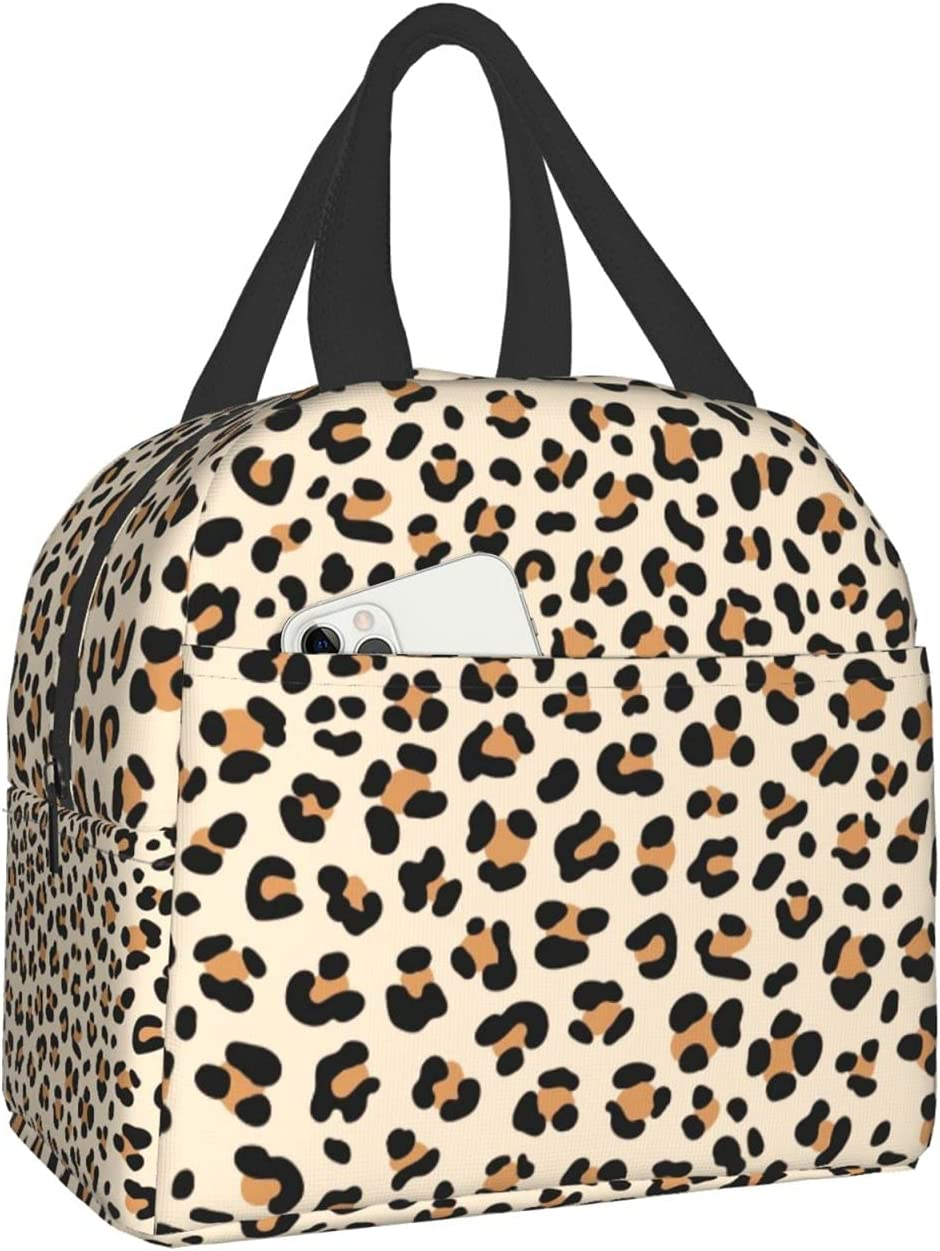 Reusable Cute Beige Leopard Print List price Lunch Bags Fashion Thermal Insulated f