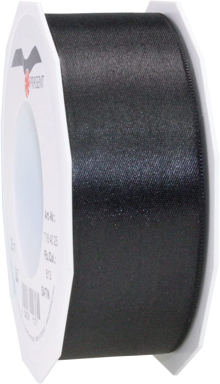 Prasent 40 mm 25 m Satin Double Max 40% OFF Face New Free Shipping Black Ribbon Roll