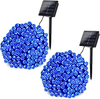 Joomer 2 Pack Solar Christmas Lights 72ft 200 LED 8 Modes Solar String Lights, Waterproof Solar Fairy Lights for Garden, Patio, Home, Wedding, Party, Christmas Decorations (Blue)