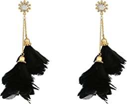 In Full Feather Tassel Statement Earrings