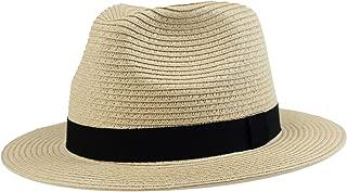 Men Beach Straw Fedora Hat Panama Havana Sun Travel Hat Natural