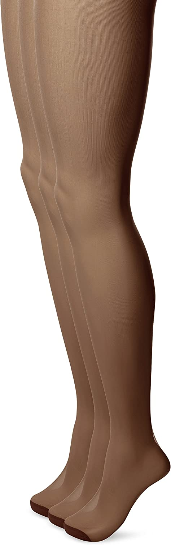 No Nonsense Women's Ultra Sheer Regular Pantyhose with Reinforced Toe 3-Pack