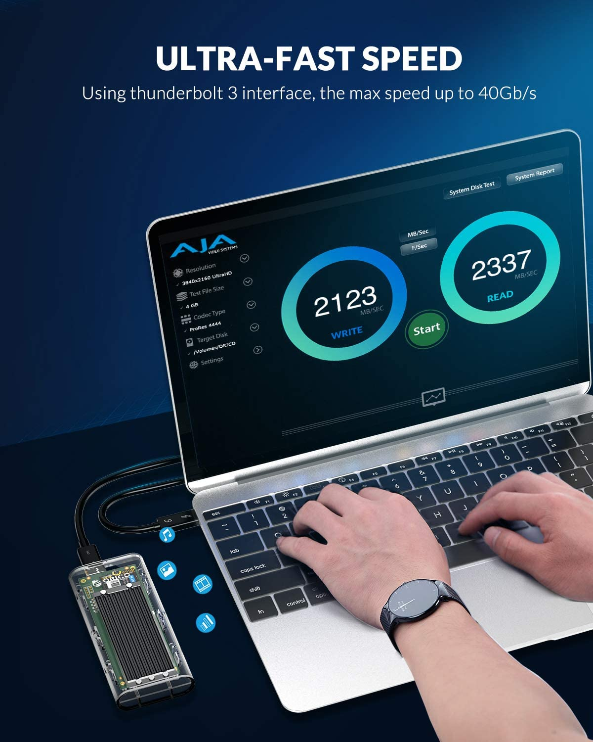 Only for 2280 M.2 NVME SSD Up to 2TB 0 GB ORICO Transparent Thunderbolt 3 NVMe 2280 M.2 SSD Enclosure Intel Official Certification 40Gbps Ultra High Speed M.2 SSD Case Black