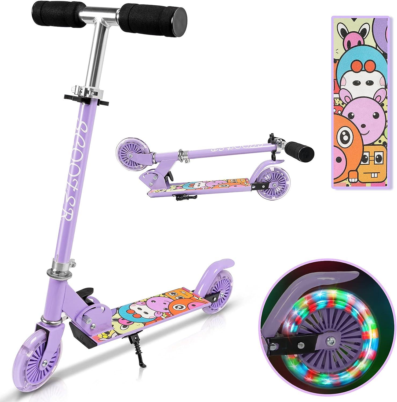 Yuanj Patinete para niños, de aluminio con 2 PU ruedas intermitentes, 3 alturas ajustables, patinete plegable para niños de 3 a 10 años, deslizamiento suave y estable