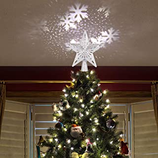 AOZBZ Christmas Tree Star Topper with Projector Lights, Hollow Out LED Star Tree Topper, Adjustable RGB Projector Lights, Projecting on Snowflake, Xmas Tree Decoration