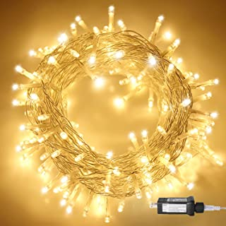 Aluan Christmas Lights Fairy String Lights 100 LED 33ft+10ft 8 Modes Plug in Indoor String Lights 31V Waterproof Fairy Lights Home Garden Party Wedding Christmas Tree Bedroom Window Curtain Decoration