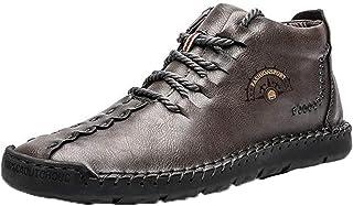 MAIAMY Automne Hiver Hommes Bottines Velours Chaud résistant à la Neige à Lacets Chaussures en Cuir Anki-Slip Confortable ...