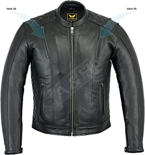 A&H Apparel Mens Leather Motorcycle Jacket Genuine Cowhide Naked Vented Zip Out Lining Jacket (Large)