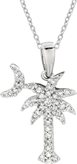 Sterling Silver Shiny Cubic Zirconia Palmetto Moon (18, 20, 24 Inches)