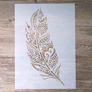 DIY Decorative Mandala Feather Stencil Template for Scrapbooking Painting on Walls Furniture Crafts (A4 Size)