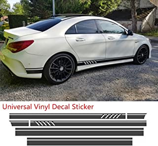 Universal Black Car Racing Body Side Stripe Skirt Roof Hood Decal Sticker for All Cars Vinyl Bumper Decal(4Pcs)