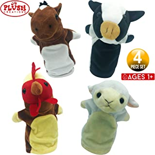 Hand Puppets Barn Friends Set of 4 Cow, Horse, Sheep, Rooster Plush Animal Toys for Boys & Girls Perfect for Storytelling, Teaching, Preschool & Role-Play