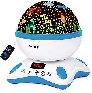 Moredig - Lámpara Proyector Infantil y Música, Lámpara Proyector Función de Temporización y Control Remoto, 360° Rotación Lámpara Proyector Estrellas, 8 Modos Luz de la Noche