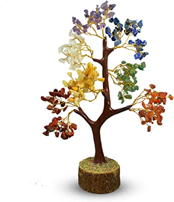 Reiki Crystal Products 7 Chakra Tree Crystal Stone Tree 300 Beads Crystal Tree for Reiki Healing and Vastu Correction and Increase Creativity Tree (Color : Multi)