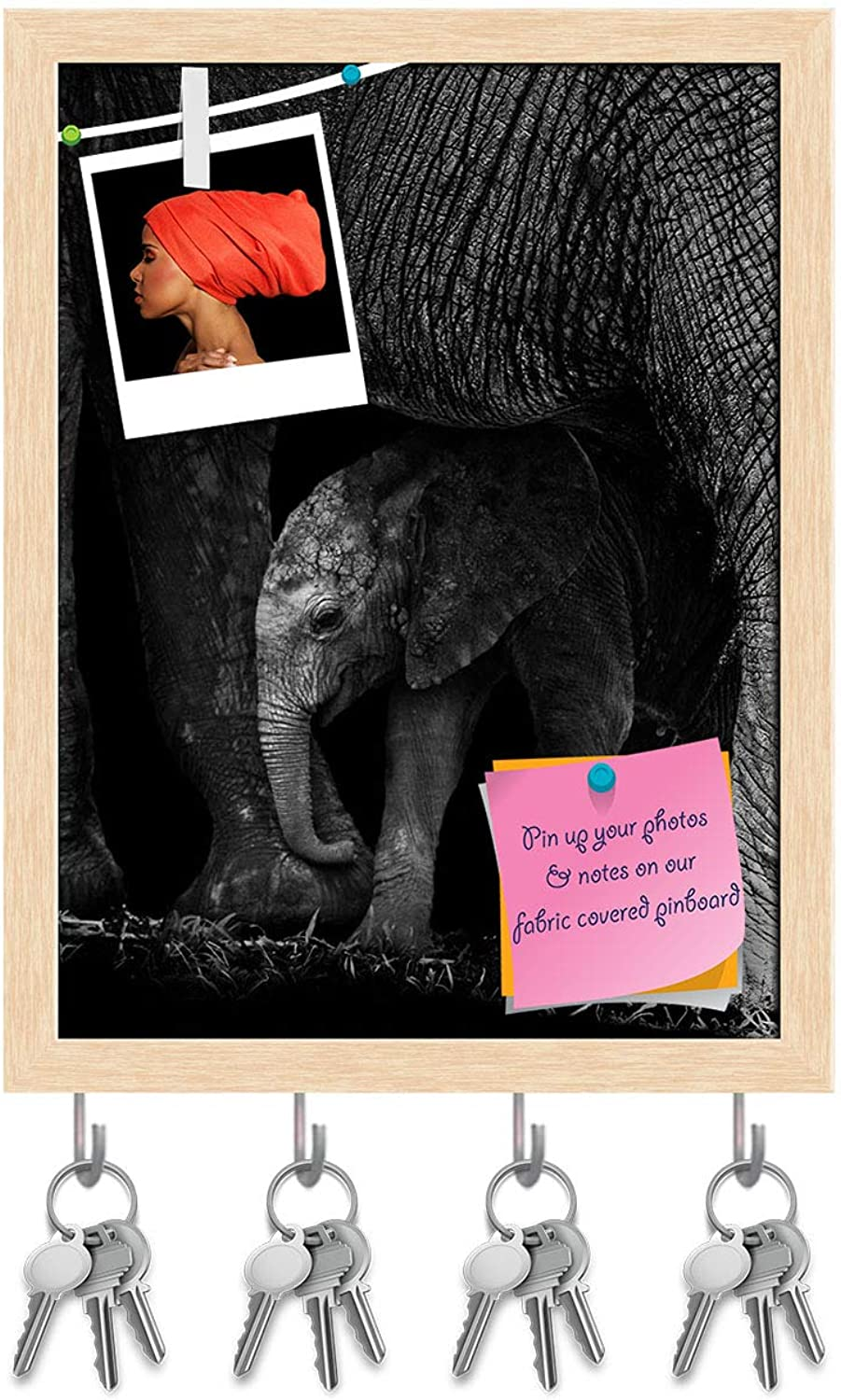 Artzfolio Baby Elephant Being Predected by It's Mother Key Holder Hooks   Notice Pin Board   Natural Brown Frame 10 X 13.2Inch